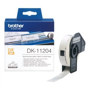 Brother DK-11204 Original 17mm x 54mm Black on White P-Touch Labels x400