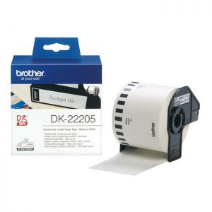 Brother DK-22205 Original 62mm x 30.48m Black on White Continuous Paper Tape