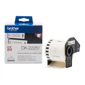 Brother DK-22251 Original 62mm x 15.24m Red/Black on White Continuous Paper Tape
