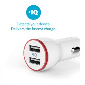 Anker 24W Dual USB Car Charger (White)