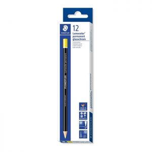 Staedtler Lumocolor Permanent Glasochrom Pencil - Yellow 12 Pack