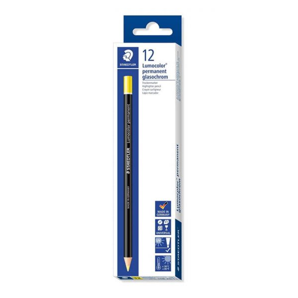 Staedtler Lumocolor Permanent Glasochrom Pencil – Yellow 12 Pack